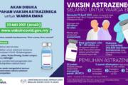 DAFTAR & TEMPAH VAKSIN ASTRAZENECA WARGA EMAS MULAI 23 MEI 2021