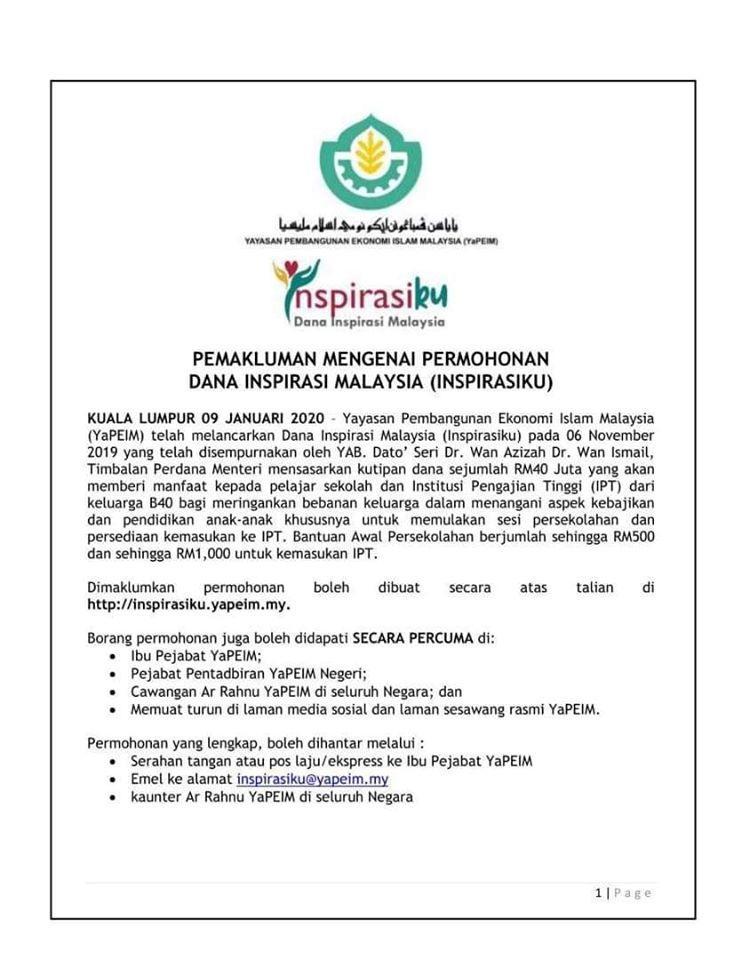 Nak Bantuan Sekolah Rm500 Rm1000 Tak Pubi Perak